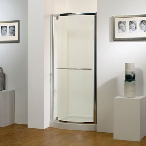 Kudos 900mm Silver Bowed Pivot Door 24.OBP90